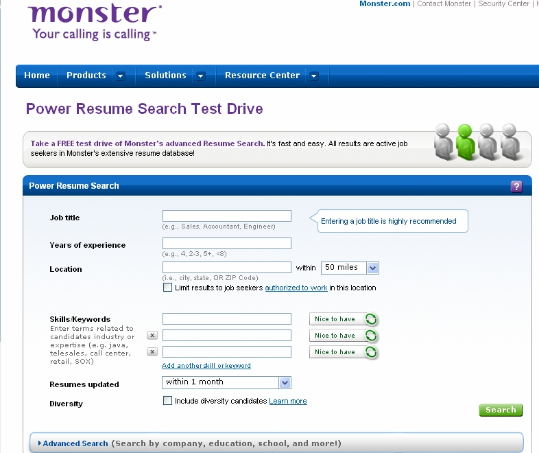 power resume search screen - Resume Search